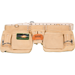 """13-Pocket Suede Leather Pouch with 2"""" Leather Belt"""